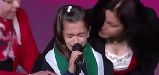 8مارس2016-پاریس- مریم رجوی- هلا کودک سوری در حال گریستن