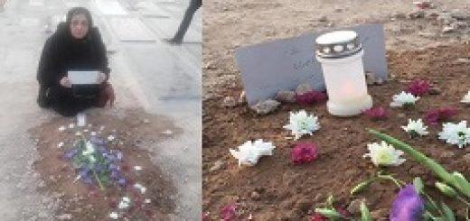 شعله پاکروان بر مزار شهرام احمدی
