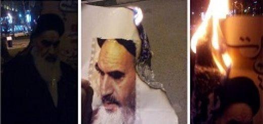 عکس-آتش-زدن-عکس-خمینی-در-تهرا