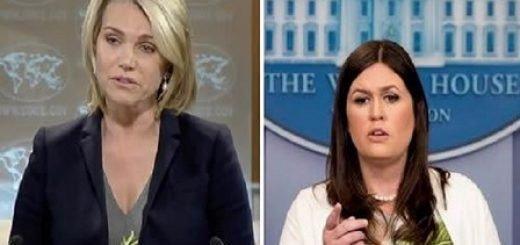 سارا سندرز سخنگوی کاخ سفید - هدر نائرت سخنگوی وزارت_خارجه آمریکا-min