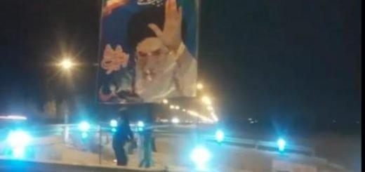 آتش زدن بنر در اصفهان
