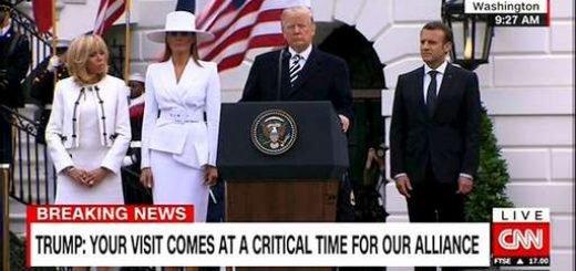 کنفرانس مطبوعاتی دونالد ترامپ و امانوئل ماکرون