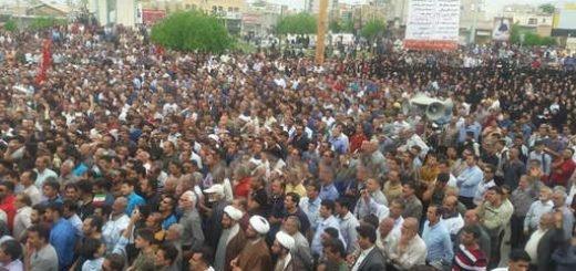 تظاهرات هزاران تن از مردم کازرون+فیلم