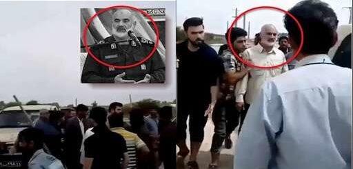 حمله سیلزدگان خشمگین به پاسدار احمد خادم سرکرده قرارگاه موسوم به کربلا سپاه پاسداران در اهواز + فیلم